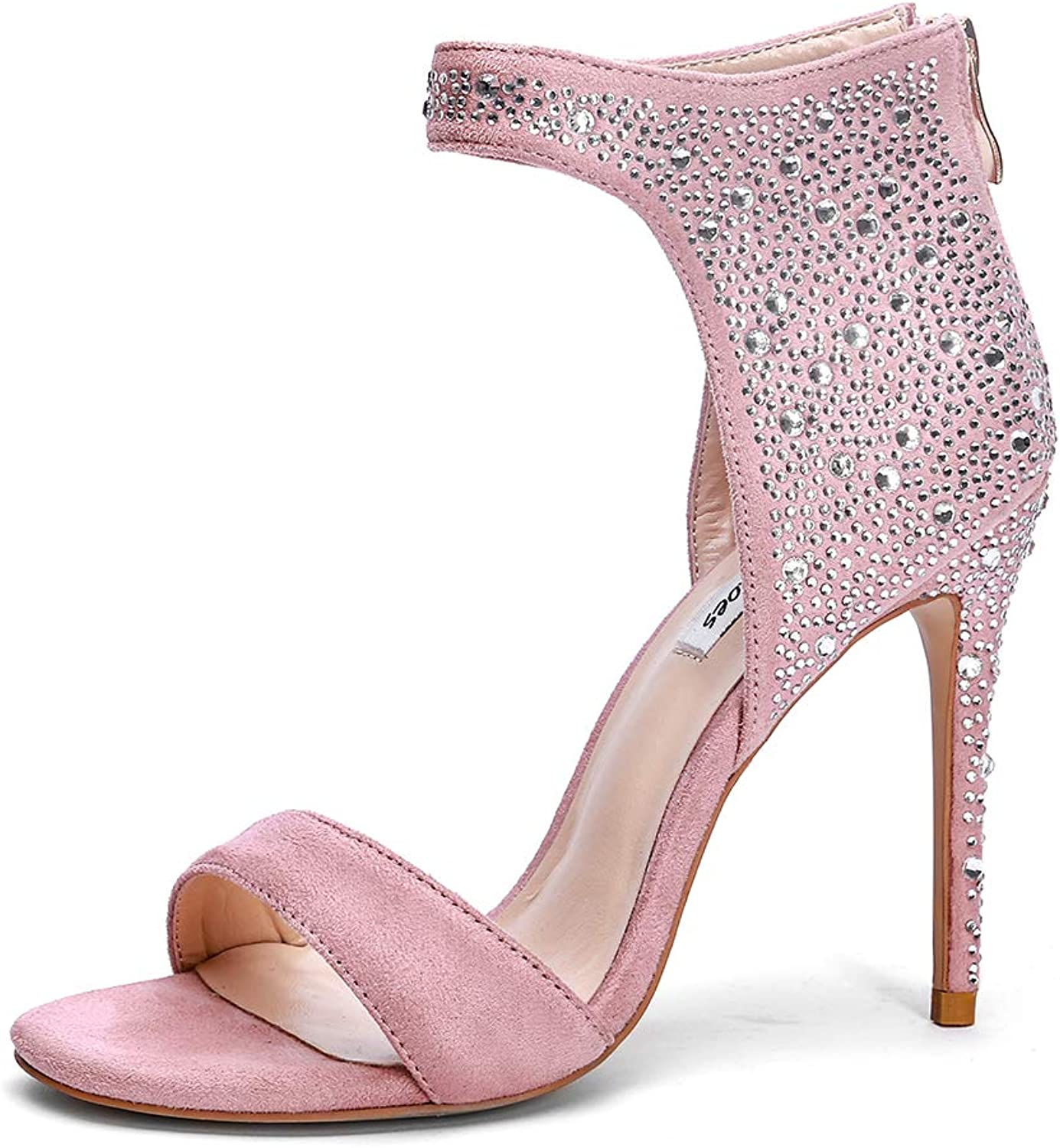 XDLEX Women Suede Strappy Glittery Heeled Sandals Stiletto One Strap Ankle Wrap Around Cover Open Toe Gothic Crystal Pumps with Rhinestone Cover Heel shoes
