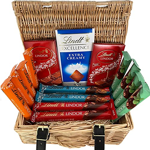 Premium Lindt Chocolates Gift Box Hamper   Perfect Selection of Lindt Lindor Chocolate Bars   Ideal Present for Weddings, Anniversaries and Other Occasions
