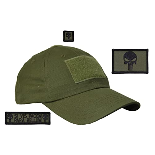 Olive Drab USA Made Gen 2 Tactical Operator Cap with Punisher Skull Patch  Set - One 423ffd753c7