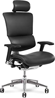 X Chair Office Desk Chair (X4 Black Leather Wide with Headrest) Ergonomic Lumbar Support Task Chair Breathable Mesh, Adjustable Arms, Executive, Drafting, Gaming Computer Home or Office Chair