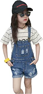 Kidscool Girls Big Bibs Ripped Summer Jeans Shortalls