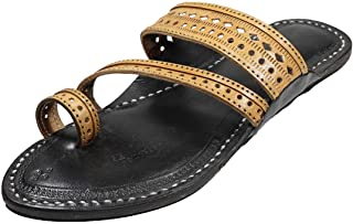 KALAPURI Authentic Pure Vegetable Tanned Leather with Delicate Punching Upper and Wire stictching Awesome Looking Black Co...