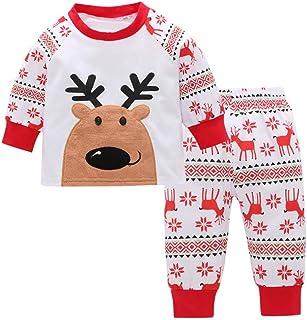 1baf4e828daf1 Kids Christmas Outfits Toddler Baby Girl Deer T Shirt Tops+Pant Homewear Clothes  Set