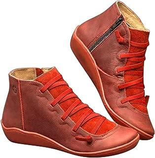 feelingood Leather Ankle Boots, Autumn Vintage Lace Up Women Shoes Comfortable Flat Heel Boots Zipper Short Boot