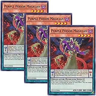 Yu-Gi-Oh! 【3 Pieces Set】 English Version PEVO-EN006 Purple Poison Magician Psychic Magician (Ultra Rare) 1st Edition
