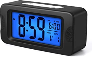 Plumeet Digital Alarm Clock, Light Up All Night, 4'' LCD Display Showing Time Alarm Date, Bedside Clocks with Snooze for Bedroom Kitchen Office Battery Operated (Black)