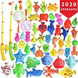 Max Fun 46 Pcs Magnetic Fishing Toys Game Set with Pole Rod Net, Learning Education Fishing Bath Toys for Kids (Small)