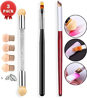 SILPECWEE 3 Pcs Acrylic Professional Nail Brush Set Nail Gradient Shading Pen With 4 Replaceable Sponge Heads Ombre Nail Art Brush Makeup Nail Painting Brushes