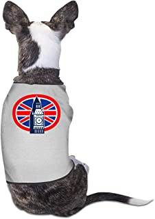 HHFASN London Big Ben British Union Jack Flag Cute Dog Clothes Fashion Dog T Shirts Funny Cat Dog Jumpsuit