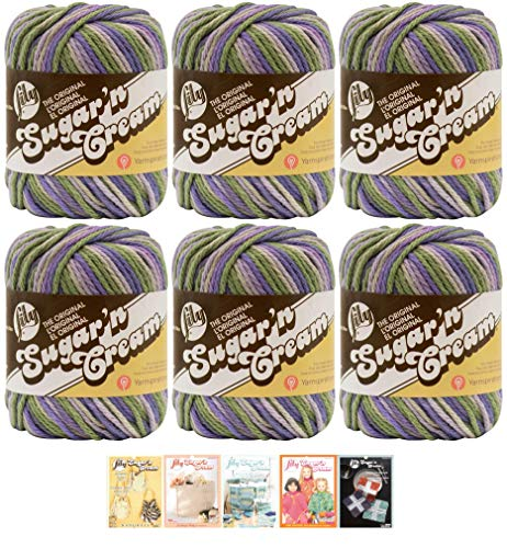 Bulk Buy: Lily Sugar'n Cream Yarn 100% Cotton Solids and Ombres (6-Pack) Medium #4 Worsted Plus 5 Lily Patterns (Country Side Ombre 02235)