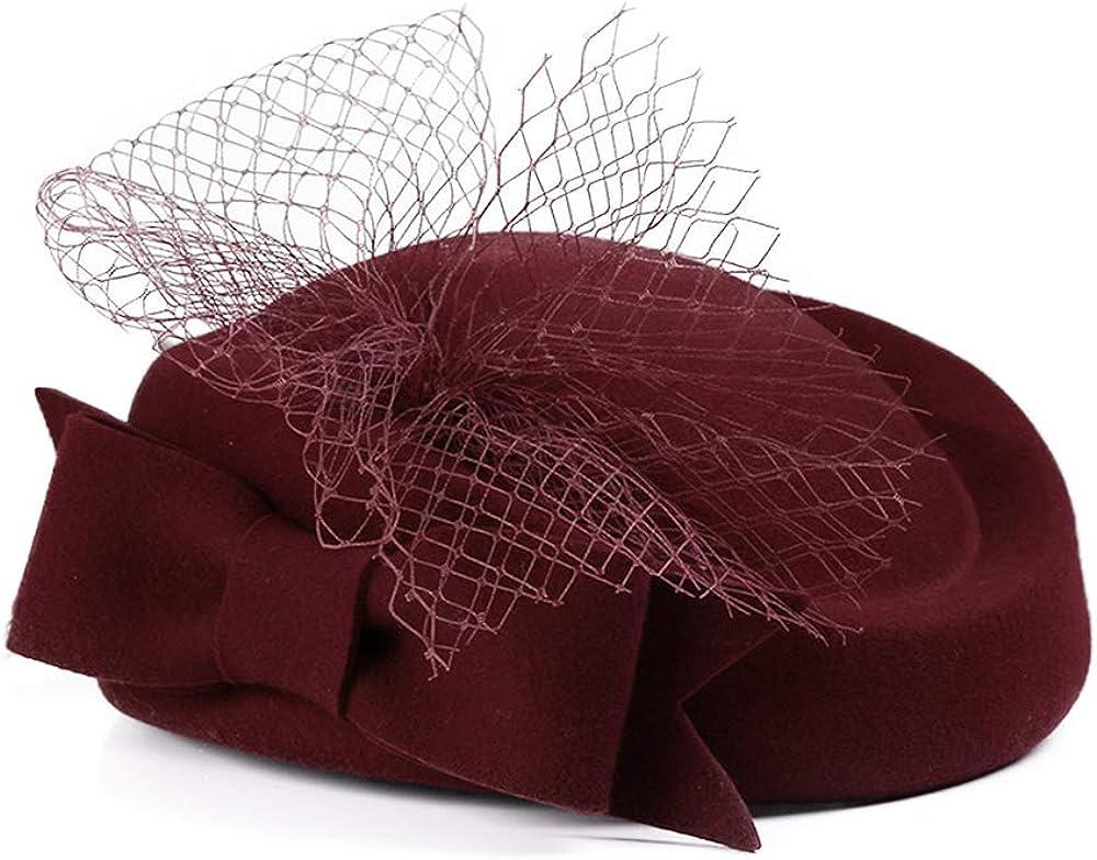 FADVES Women Fascinators Wool Pillbox Hat Formal Wedding Derby Tea Party Hat Veil