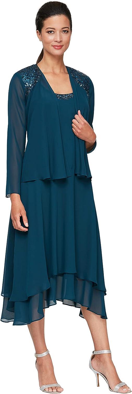 S.L. Fashions Women's Embellished Shoulder and Neck Jacket Dress