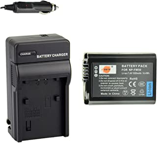 DSTE NP-FW50 Battery + Travel and Car Charger Adapter for Sony Alpha 7 7R 7R II 7S a7R a7S a7R II a5000 a5100 a6000 a6300 NEX-7 SLT-A37 DSC-RX10 DSC-RX10 II III 7SM2 ILCE-7R