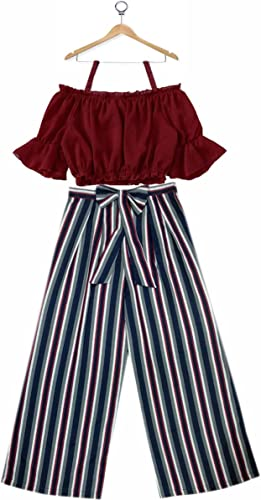 Girls DESIGNERFUSION WEAR Crop TOP and Striped Plazo Set Blue RED