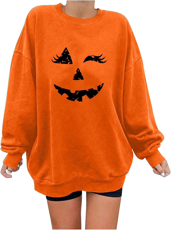 Time sale Women Halloween Pullover Tucson Mall Tops Shirt Long Sleeve Skeleton Pumpkin