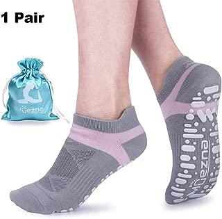 Non Slip Yoga Socks for Women, Anti-Skid Pilates, Barre, Bikram Fitness Socks with Grips, Size 5-10