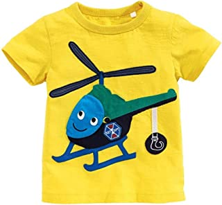 Mornyray Little Boys Short Sleeve Tops Kids Summer Clothing Airplane Helicopter Round Neck Solid Color Sports Shirt Yellow Cotton Bottoming Boys Tops Fashion Wild Casual babys tops(2-7T)