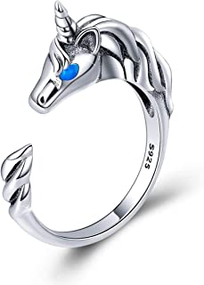 FOREVER QUEEN Cute Animal Footprints Open Ring, 925 Sterling Silver Adjustable Finger Rings for Women Girls Birthday Gifts with Jewelry Box