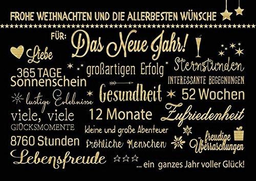 DeCoArt... Set 3 Postkarten Weihnachten Weihnachtswünsche schwarz Gold elegant 15 x 10,5 cm