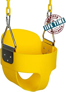 ANCHEER Toddler Swing Seat High Back Full Bucket Swing Seat with 60-inch Coated Chain and Two Snap Hooks –Swing Set Accessories (Yellow#)