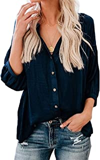 Womens V Neck Button Down Shirts Puff 3/4 Sleeve Loose Fitting Blouses Tops