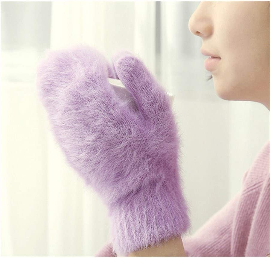 ZZTT Autumn and Winter Gloves Female Winter Mittens Factory Outlet Fur Gloves Fingerless Gloves Winter Gloves Women Girls Mittens Cute Rabbit Wool Gloves Warm and Comfortable Gloves