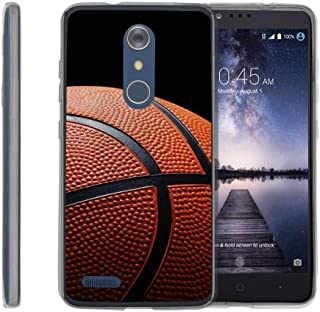 TurtleArmor | Compatible with ZTE ZMax Pro Case | ZTE Blade X Max Case [Flexible Armor] Resistant Slim Fit Flexible TPU Case Soft Bumper Cover Sports and Games - Basketball Seams