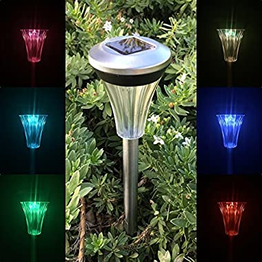 Solar Powered Stainless Steel Color Change LED Garden Path Light ( 10 Pack )