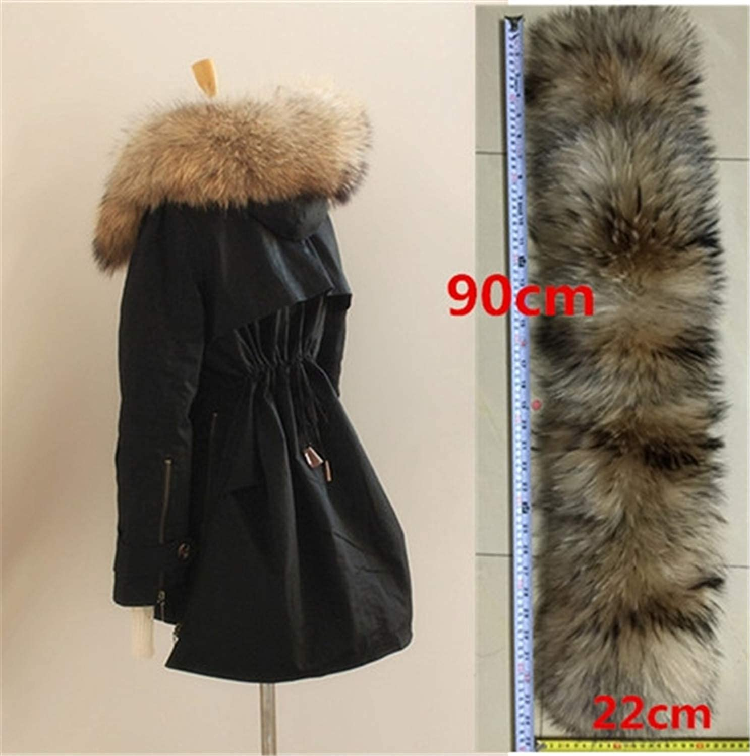Women Real Raccoon Fur Collar Hooded Parka Femme Jackets Fur Coat Ladies Detachable Lining  Ba8 Black 22cm fur L