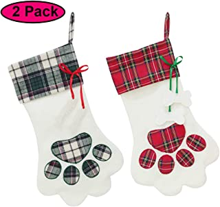 Lemcool 2 Pieces Pet Dog Christmas Stocking Fireplace Hanging with Large Paw for Christmas Decorations Red and Green