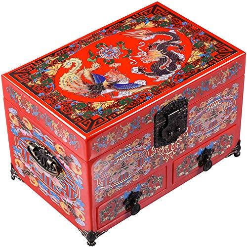 LXYZ Schmuckkästchen,Schmuckschatulle, Holz, chinesische Aufbewahrungsbox, Umkleidebox, Schmuckschatulle, Lackschatulle, Drache und Phönix
