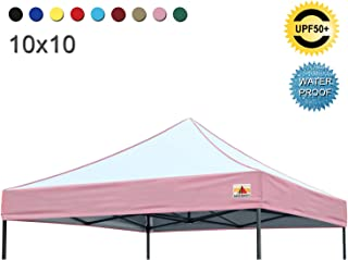 ABCCANOPY Replacement Top Cover 100% Waterproof (18+ Colors) 10x10 Pop Up Canopy Tent Top, Edge Pink