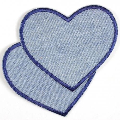 Flicken Herz hellblau Jeans Aufnäher Bügelbild 9,8 x 8,5 cm Bügelflicken Aufbügler Knieflicken zum aufbügeln Applikation 2 große Patches
