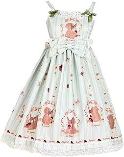 Women's Sweet High Waist Squirrel Printing JSK Lace Bow Lolita Dress
