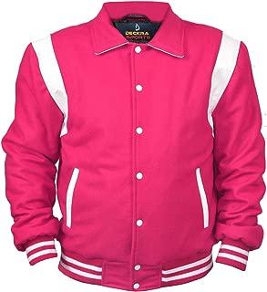 Men's Varsity Jacket Collard Wool Blend Letterman Real Leather Vintage Varsity Jackets XXS-5XL