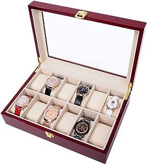 صندوق ساعة خشبي لامع فاخر للأولاد مزود بـ 12 فتحة مشبك معدني مع ساعة معصم قابلة للفصل سلسلة سوار مجوهرات تذكارية مع