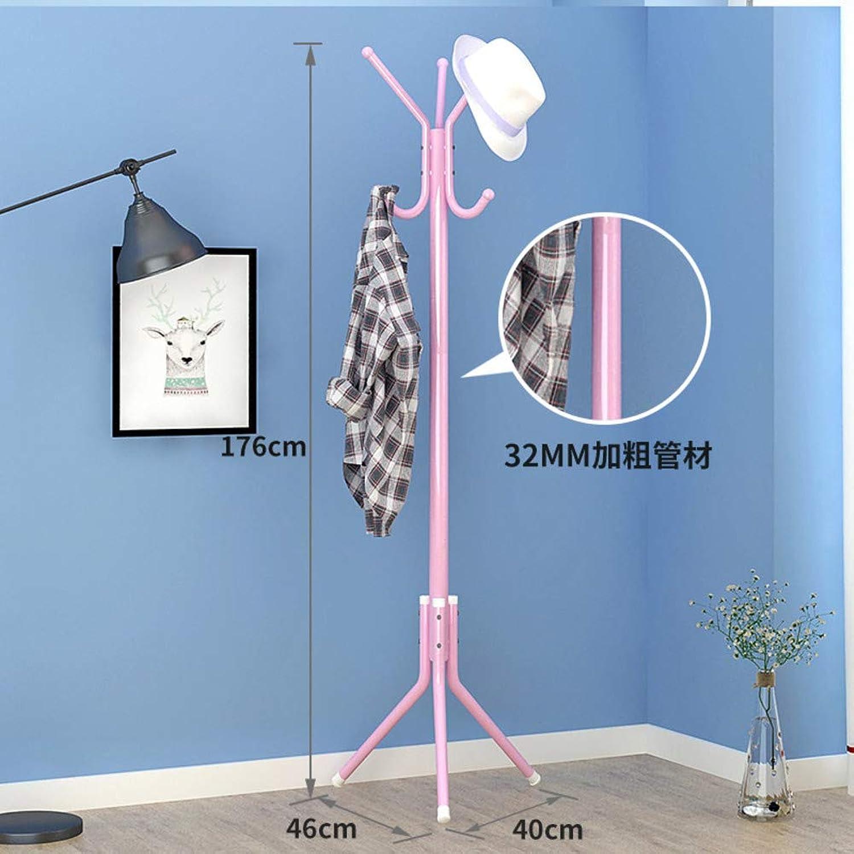 Simple Modern Coat Rack, Metal Clothes Rack Multifunctional Bold Bedroom Hanger Free Standing Clothes Rack hat Rack-Pink