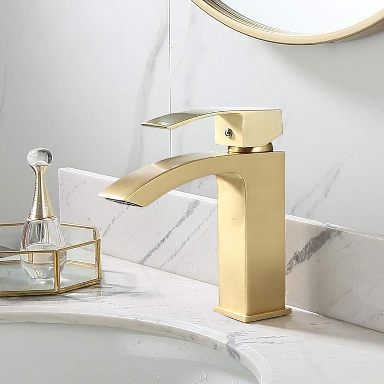 Niuniu Messing gebürstetem Gold Einhebel Bad Becken Mischbatterie Waschbecken Wasserhahn (gre   S)