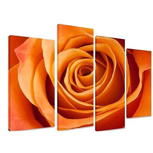 5723ef73cd5 PICTURE - Multi Split Panel Canvas Artwork Art - Orange Rose Closeup Flower  Petals - ART