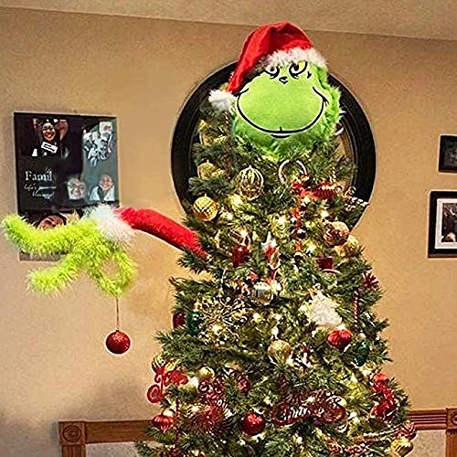 LUOWAN Christmas Decoration for Christmas Tree Grinch Head Hand Family Christmas Decoration Cute Ornament Children Gifts