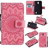 pinlu® Flip Funda de Cuero para Huawei Y625 Carcasa con Función de Stent y Ranuras con Patrón de Girasol Cover (Rosa)