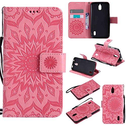 pinlu® PU Leder Tasche Etui Schutzhülle für Huawei Y625 Lederhülle Schale Flip Cover Tasche mit Standfunktion Sonnenblume Muster Hülle (Rosa)
