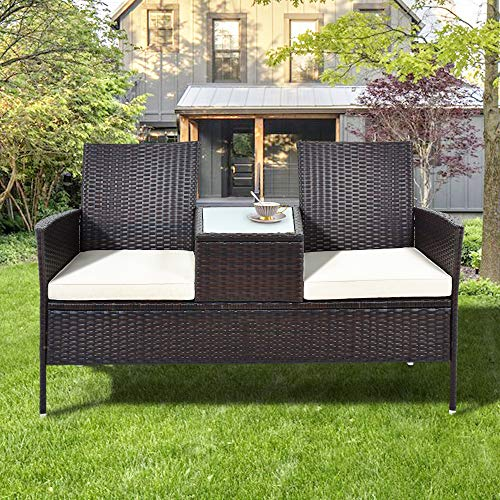 Polyrattan Gartenbank Gartensofa Garten Möbel Mit Tisch 2 Sitzer Loveseat inkl. 5cm Auflagen, Braun