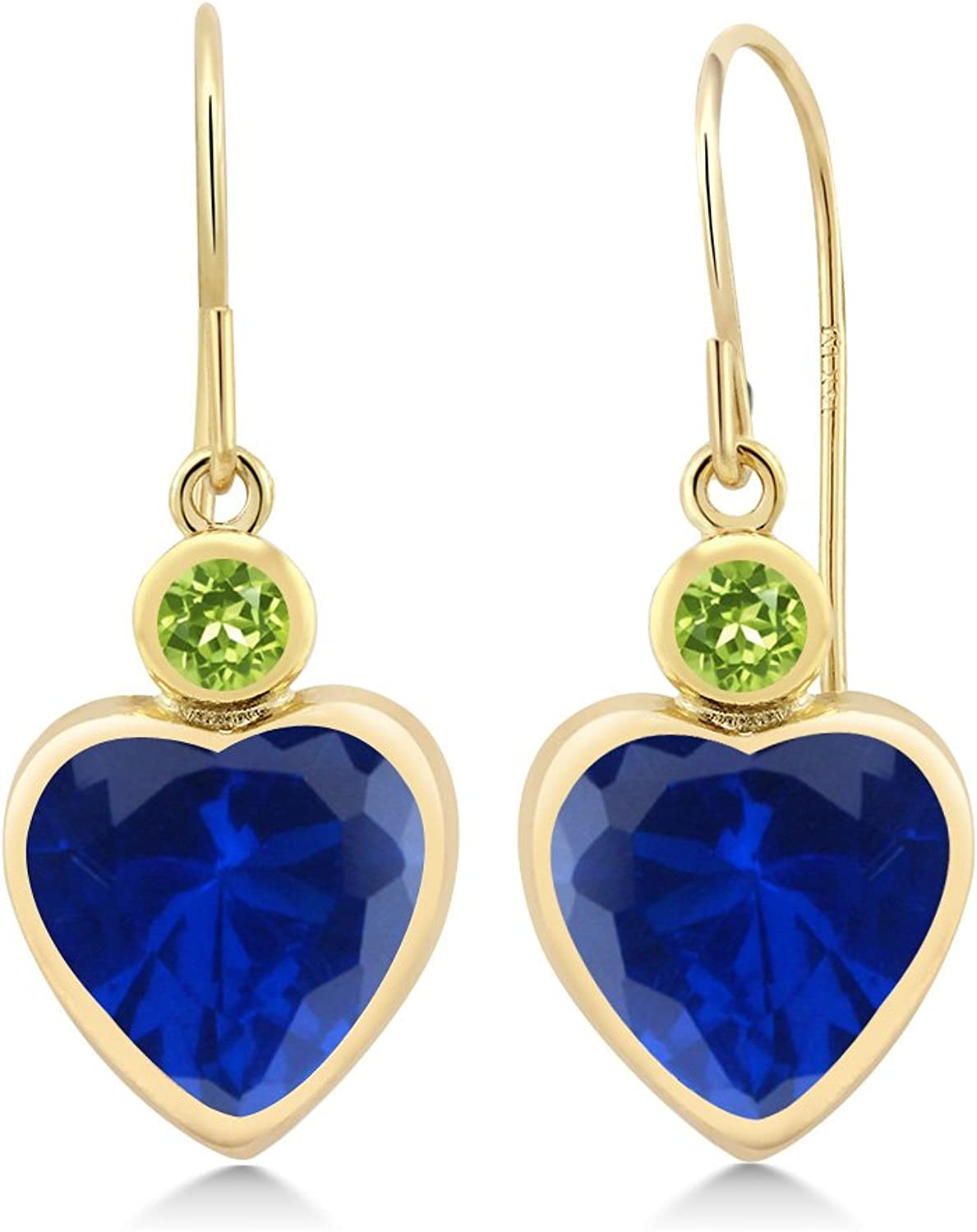 4.84 Ct Heart Shape bluee Simulated Sapphire Green Peridot 14K Yellow gold Earrings