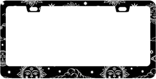 DZGlobal Sun License Plate Frame Moon and Stars Over Black Sky Decorative Metal Car Front License Plates Vanity Tag Aluminum Novelty License Plate Cover,6 X 12 Inch (2 Holes)