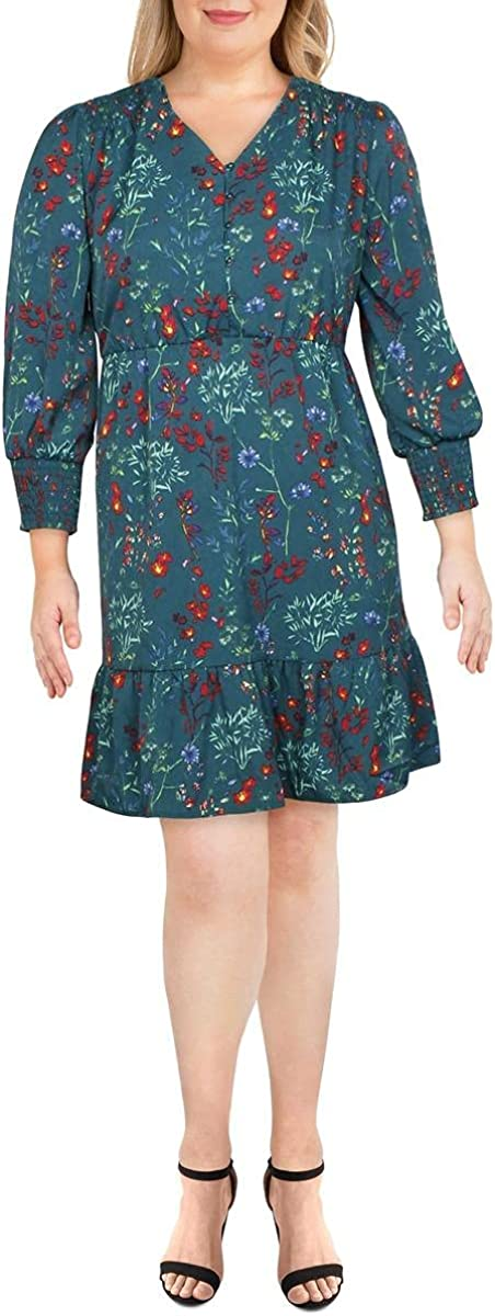 NY Collection Womens Plus Floral Smocked Wear to Work Dress Green 2X