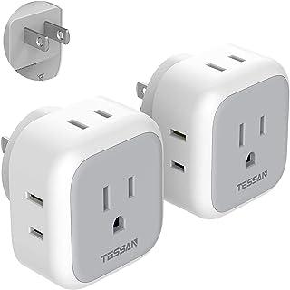 コンセント タップ TESSAN 4AC口 電源タップ コンセント 分岐 充電タップ 直挿しマルチタップ たこあしコンセント コンパクト 2個セット