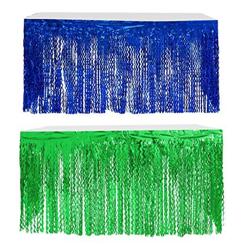 Hellery 2 STK. Franse Glitzer Tischrock Tischdecke Tischverkleidung für Hochzeit, Geburtstag, Babyshower - 275 x 75cm, Blau + Grün