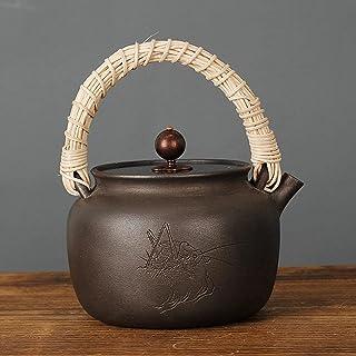 Bouilloire en fer japonais avec poignée en vigne Ensemble de thé rétro non revêtu de bouilloire-A