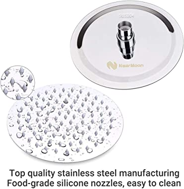 Rain Shower Head with 11'' Adjustable Arm, NearMoon High Pressure Stainless Steel Rainfall Showerhead, Ultra-Thin Des
